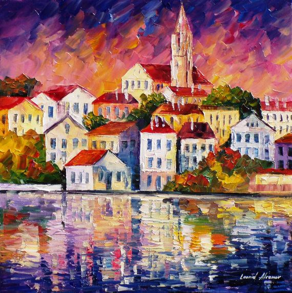 Simple Town  PALETTE KNIFE Cityscape Modern by AfremovArtStudio