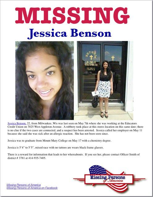 Missing Persons of America Jessica Benson Missing from Milwaukee - missing person flyer template