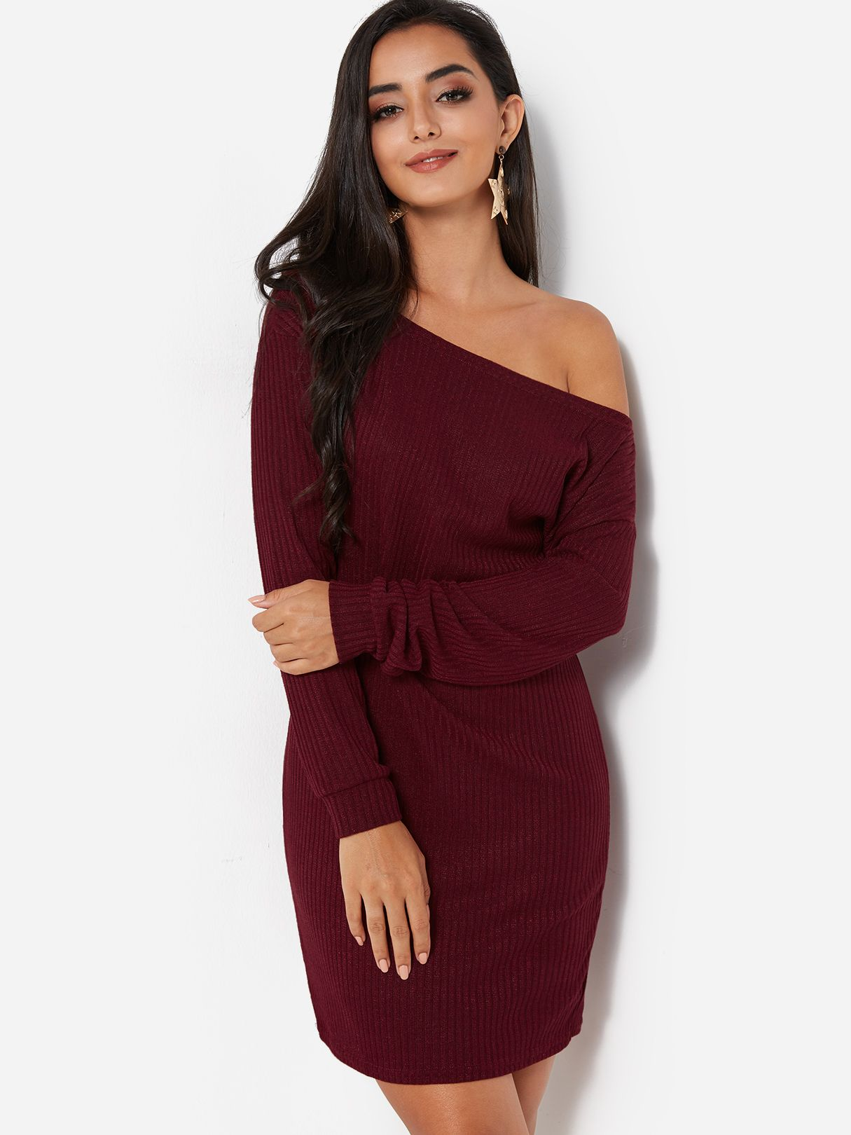 537312d4ab0 Burgundy One Shoulder Long Sleeves Knitted Sweater Dress - US$13.95 ...