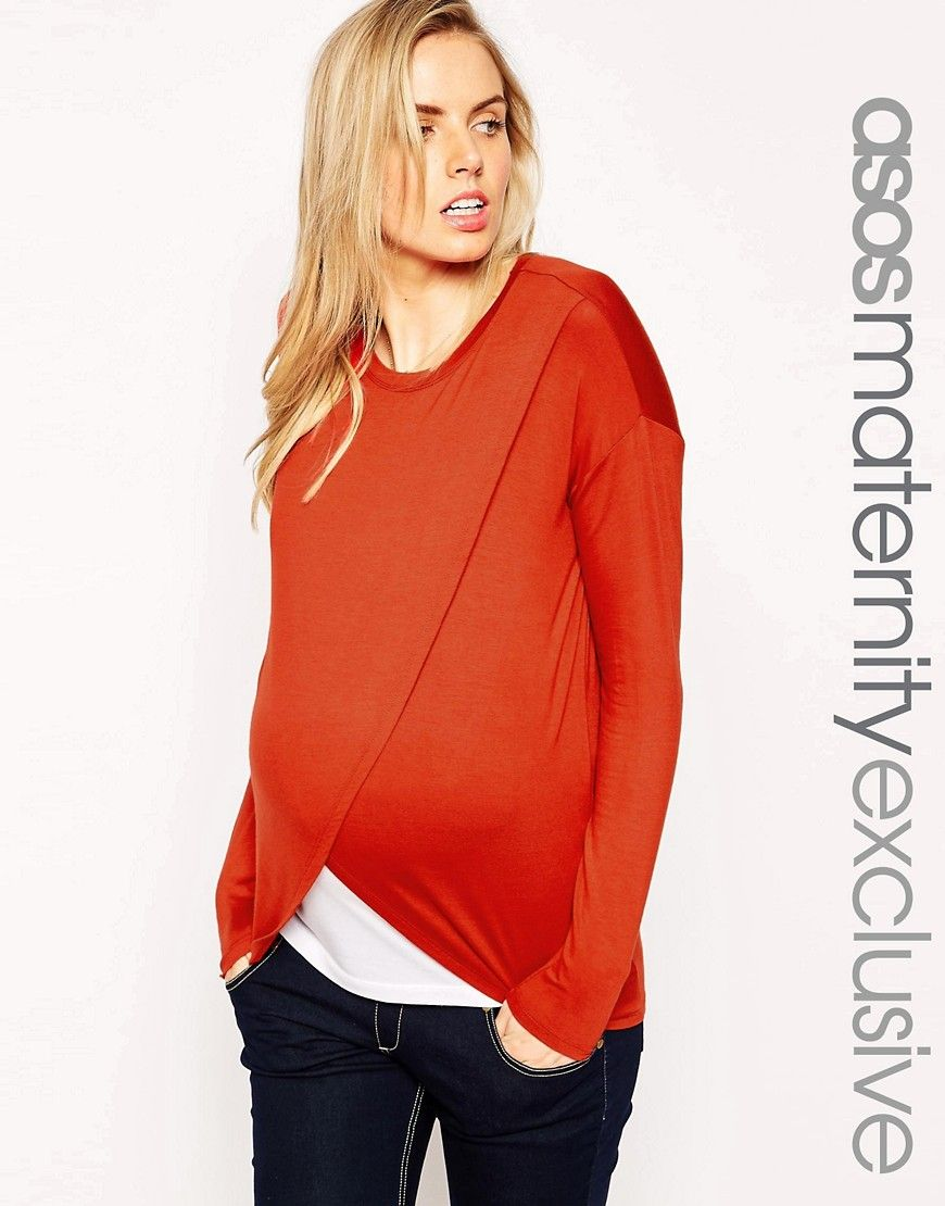 38fe7e6337c4ee ASOS Maternity NURSING Top With Wrap Overlay And Long Sleeve ...