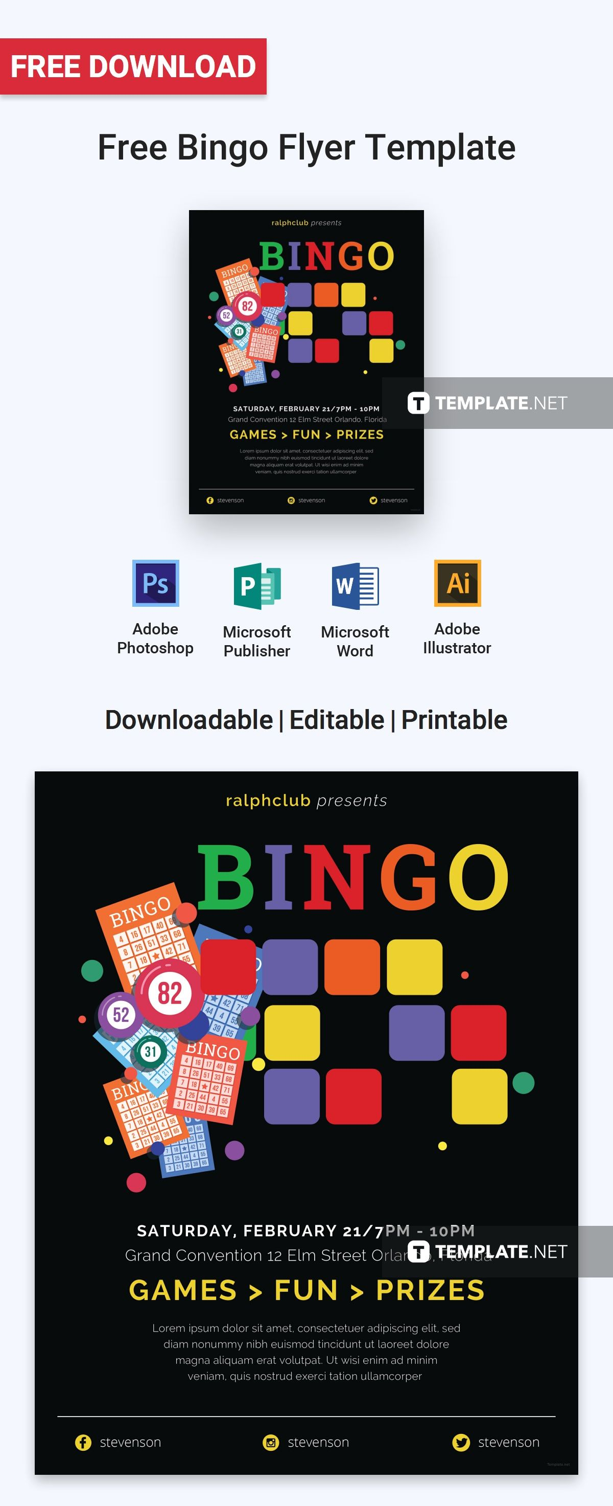 Bingo Flyer Template Free Jpg Illustrator Word Apple Pages Psd Publisher Template Net Flyer Template Flyer Flyer Layout