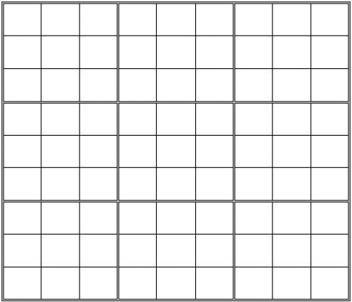 Printable Blank Sudoku Grid School and Math - blank grid chart