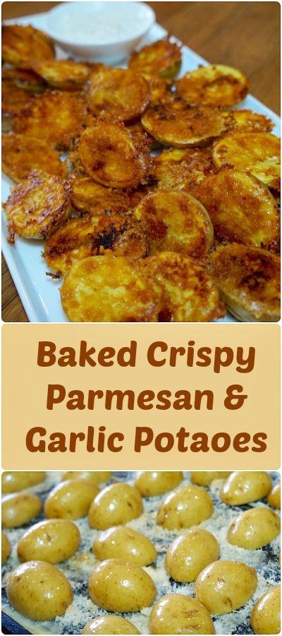 Baked Crispy Parmesan and Garlic Potatoes