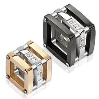 CAGES EN PENDENTIFS  Trois carrés superposés traversés aux angles par une solide tige à tête apparente forment une sorte de cage bicolore à porter en pendent...