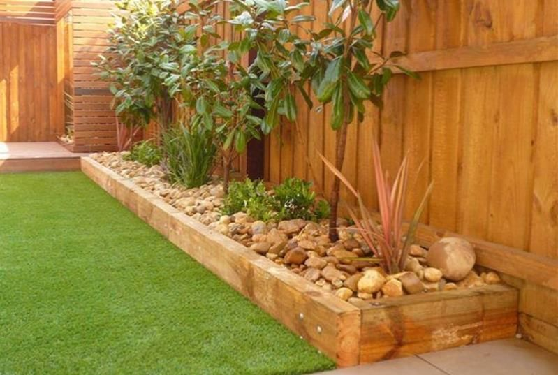 Best beautiful and cheap wood lawn edging ideas decor