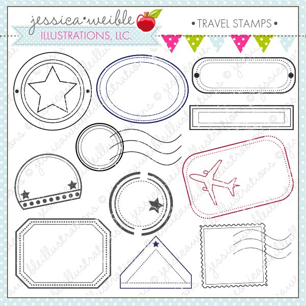 Travel Stamps - 11 cute passport travel stamps in various colors - free passport template for kids