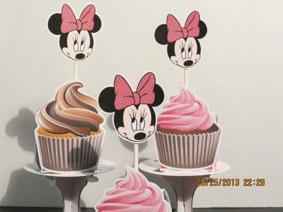 Minnie Mouse Cupcake Toppers Set of 12 by ScrapbookSolutions, $8.55