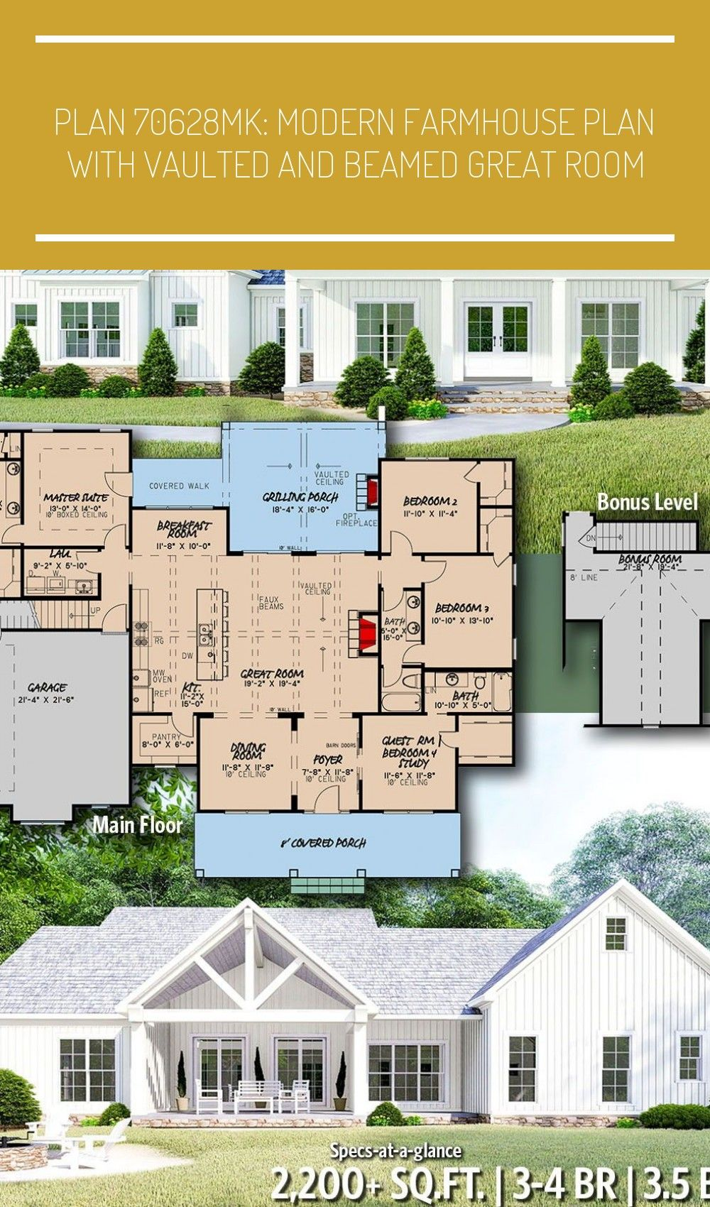 Architectural Designs Modern Farmhouse Plan 70628MK gives you 3-4 bedrooms, 3.5 baths and 2,200+ sq. ft. Ready when you are! Where do YOU want to build? #70628MK #modern #farmhouse #country #adhouseplans #architecturaldesigns #houseplans #architecture #newhome #newconstruction #newhouse #homeplans #architecture #home #homesweethome #modern farmhouse bathroom trash can Plan 70628MK: Modern Farmhouse Plan with Vaulted and Beamed Great Room