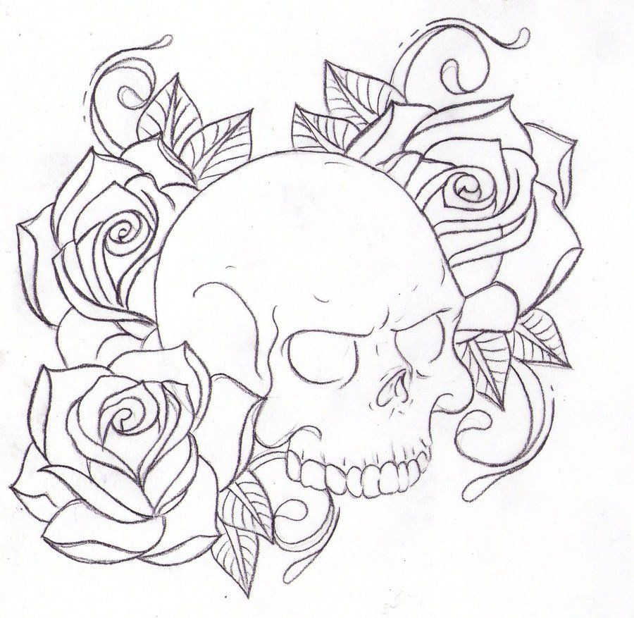 13 Skull N Roses Skull And Rose Drawing Skull Coloring Pages Skull Drawing Tattoo
