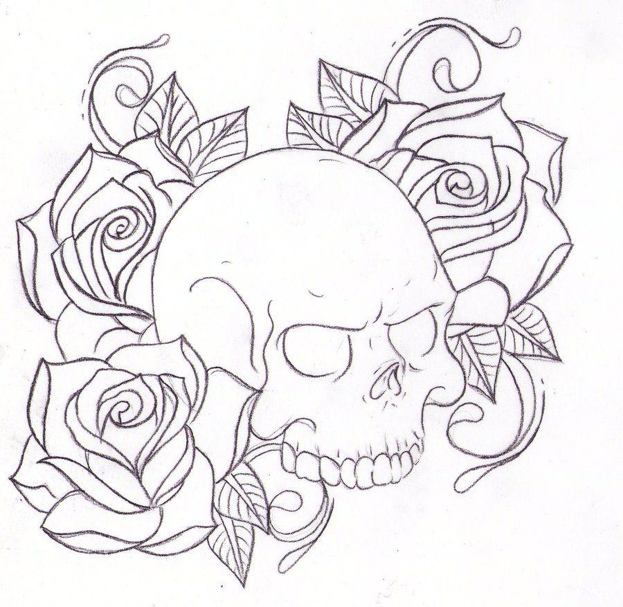 Rose And Skull Drawing Tattoo Sketch Design Skull
