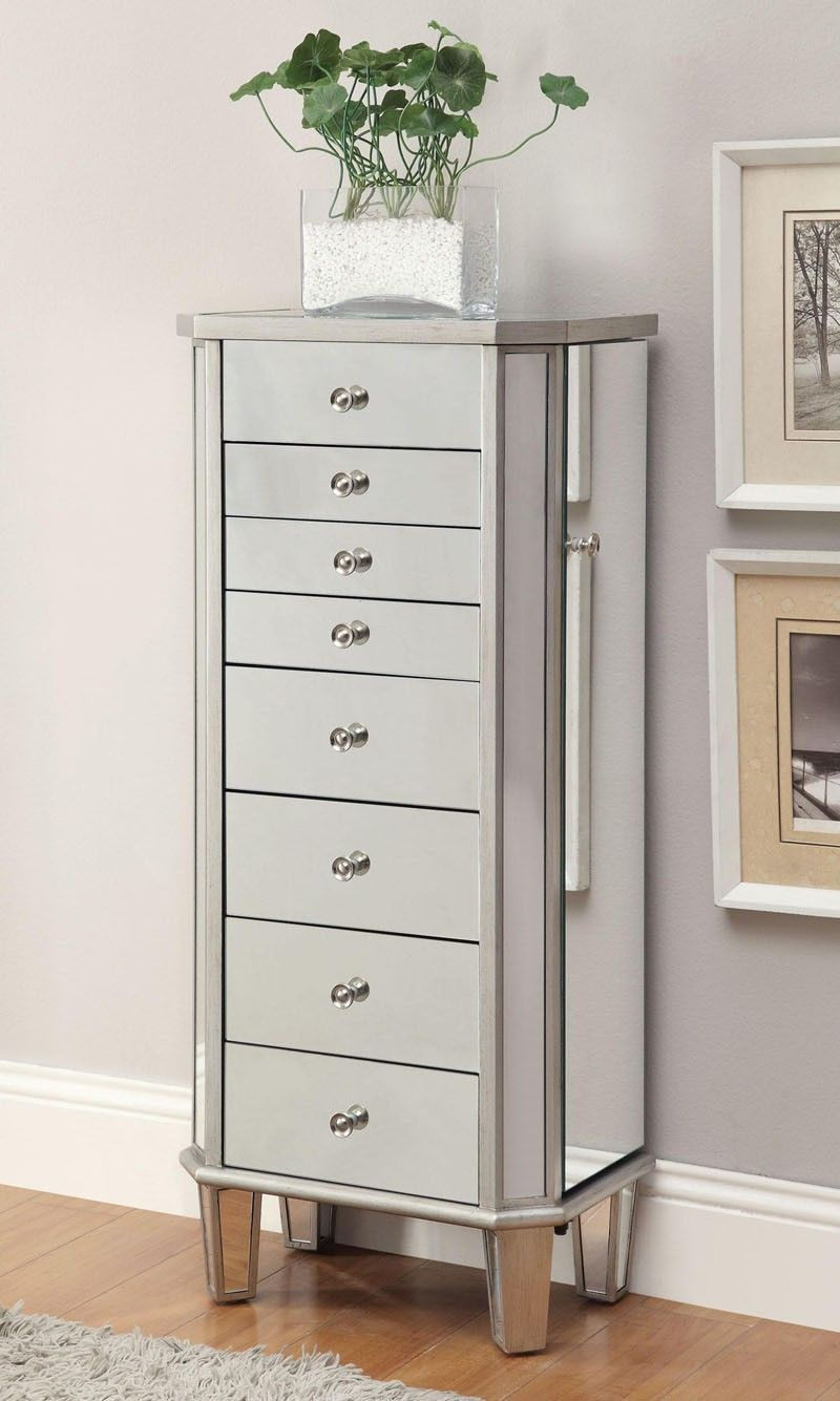 Coaster Furniture Jewelry Armoire In Antique Silver 903808
