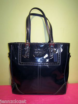 Coach Navy Blue Patent Leather Tote