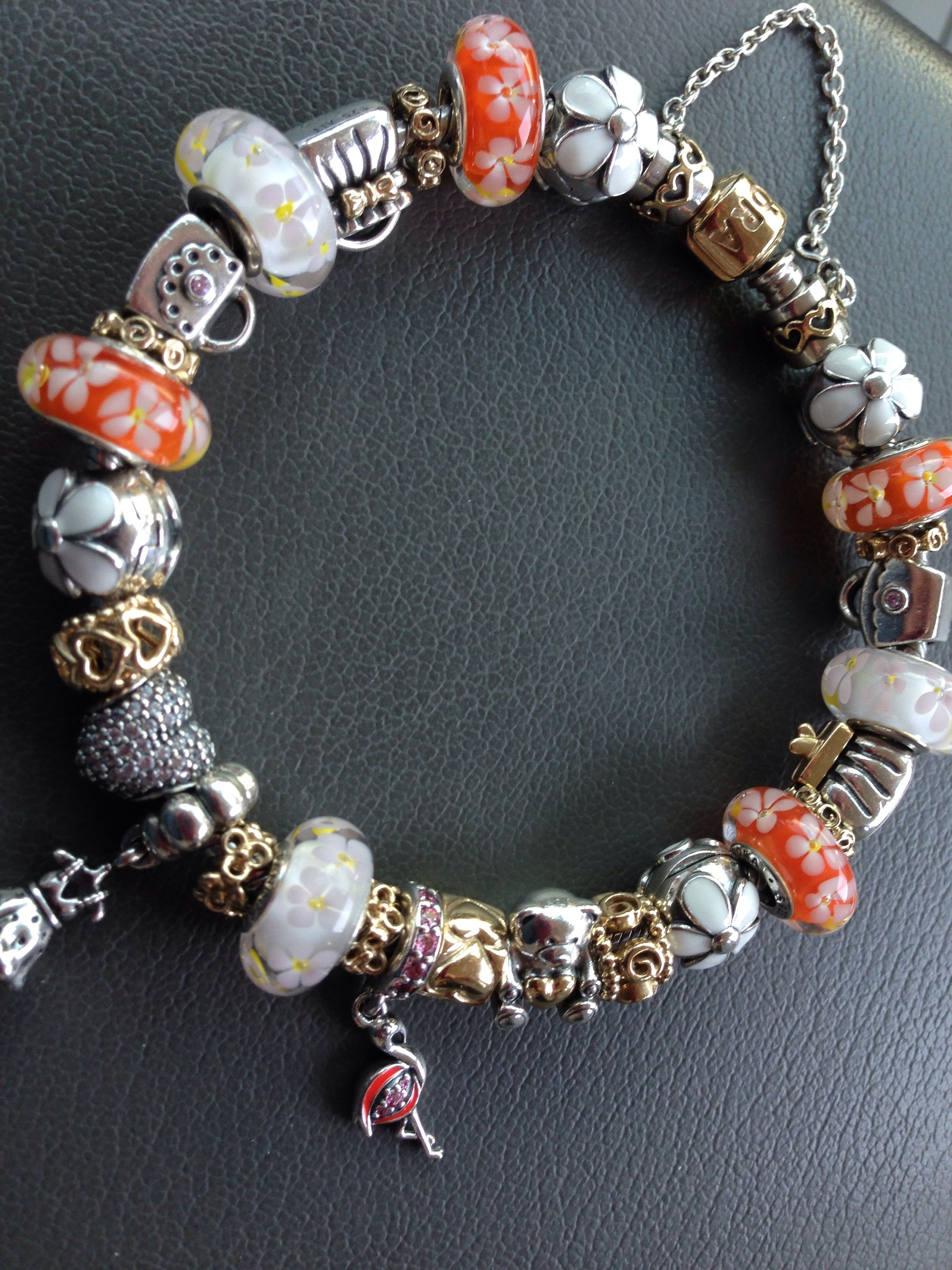 Pandora Bracelet With Beautiful Orange And White Floral Murano