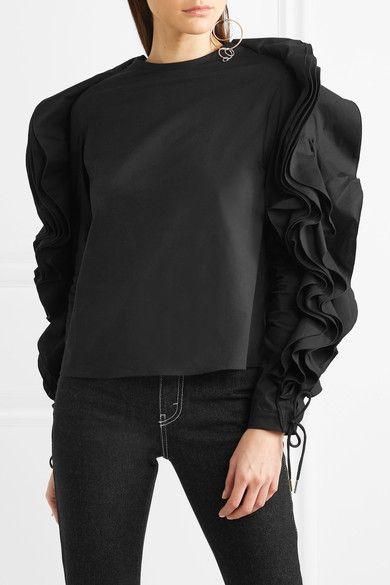 popelina algodón Blusa de cordones de con Antonio de negra y Berardi volantes mezcla con F15w6Z