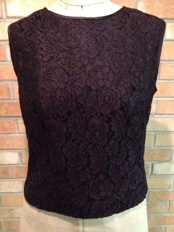 Vintage Blouse or Top  Black Lace Sleeveless Tank by crazyplatter, $21.00