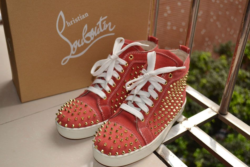 official photos adb49 b2439 Christian Louboutin LOUIS WOMEN'S suede pink gold SPIKEd ...