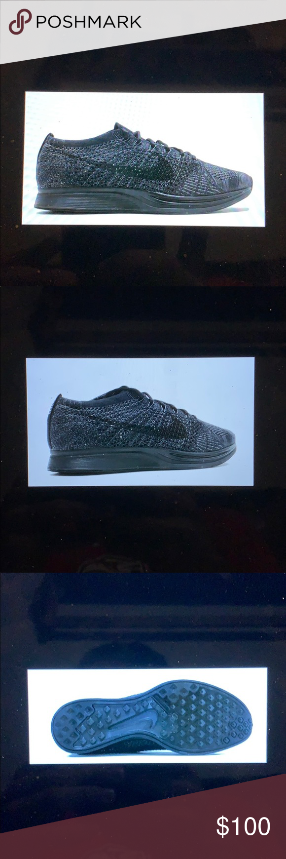 half off 5e21a c6a10 Nike Flyknit Racer Running Shoes Triple Black Brand new without the box Men s  sizes 7,