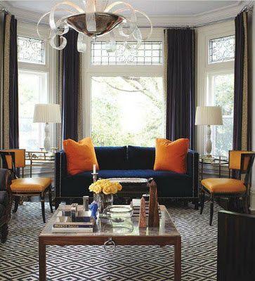 Something Blue Decorating With A Blue Sofa Cobalt Navy Azure Living Room Orange Home Design Living Room Luxury House Designs