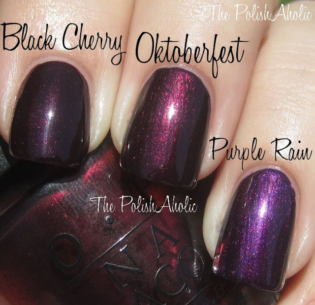 COMP: OPI - Black Cherry Chutney vs. OPI - Every Month Is Oktoberfest (Germany Fall 2012) vs. Nars - Purple Rain / ThePolishAholic