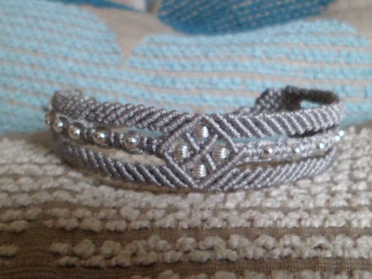 Sterling Silver 925 Bead Macrame Knot Cuff Bracelet by JapanFan available on etsy