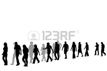 People Walking People Walking In Line Vector Illustration