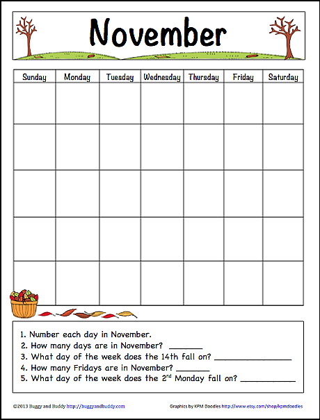 Calendar Ideas For November : November learning calendar template for kids free