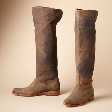 """WESTSIDE WALKING BOOTS--Lambskin, weathered to sueded softness, shapes a pointed toe pull on, to cuff or not. Leather lining and sole, 1"""" heel. Imported. Distressed brown—each will be unique—in whole and half sizes 6 to 10, 11."""