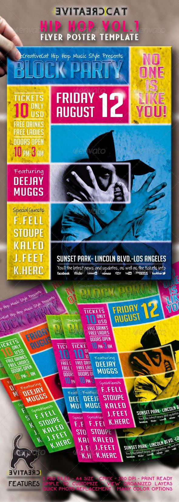 Poster design for events - Hip Hop Flyer Postert Event Poster Designflyer