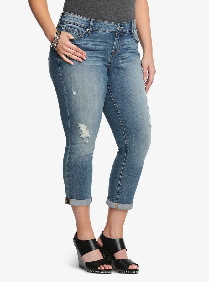 5e6e39bf215 Torrid Cuffed Skinny Jean - Light Wash with Destruction  wishlist ...