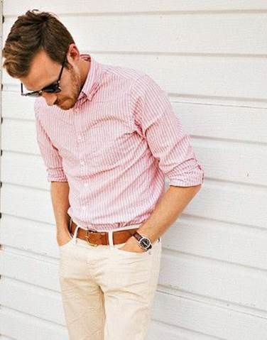 Combination of pink shirt and stone casual pants with tan for Shirt and pants color combinations