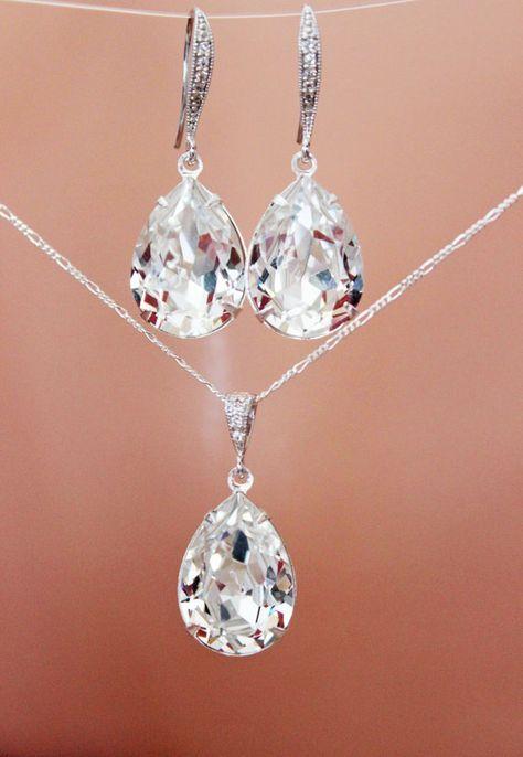 Crystal Clear Teardrop Wedding Jewelry Set Crystal Drop Bridal Earrings And Bridal Pendan Diamond Wedding Jewelry Wedding Jewelry Sets Bridesmaid Jewelry Sets