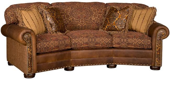 King Hickory Ricardo Leather Fabric Conversational Sofa Sold At The Lite Company Come To The Store To Ch Conversation Sofa Rustic Living Room Furniture Sofa