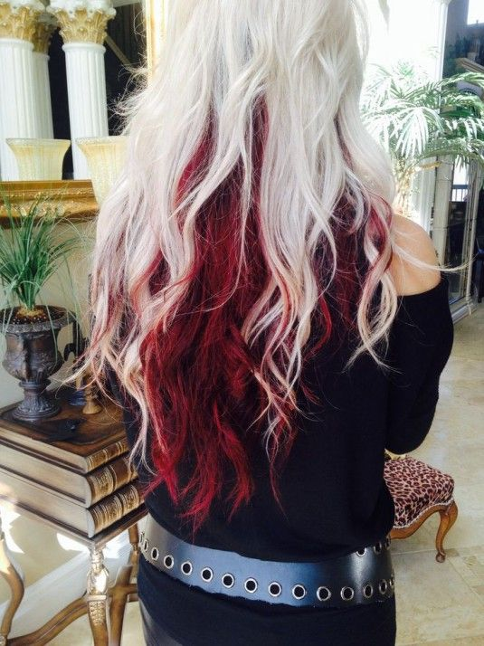 Long Amazing Hair With Platinum Blonde Above And Red Underneath Red Blonde Hair Red Hair Color Dyed Hair