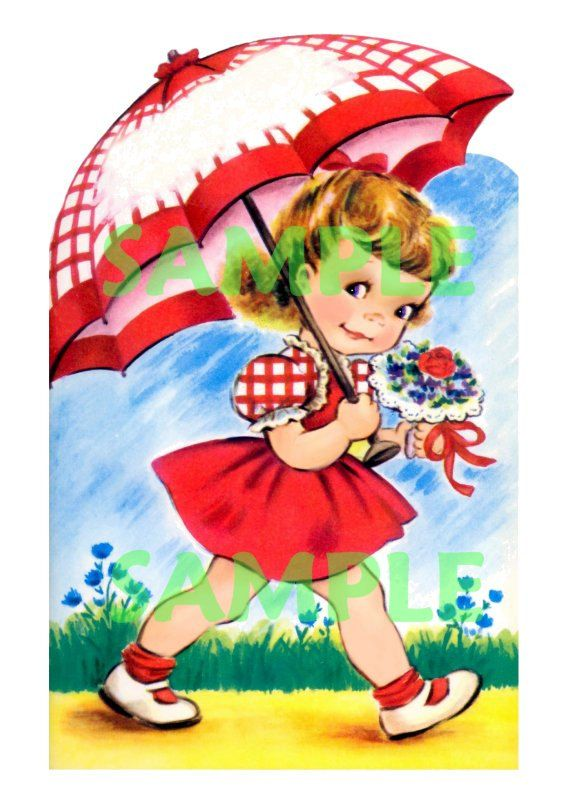 Vintage Girl With Umbrella And Red Dress Digital Download