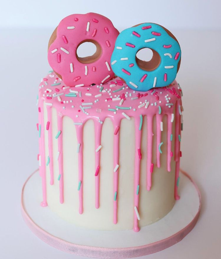 Donut Themed First Birthday Cake Topper With Pink Sprinkle Drip