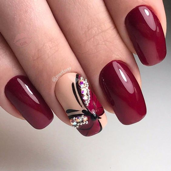 wine burgundy nails with butterfly | Wine Colored Nails | Wine ...