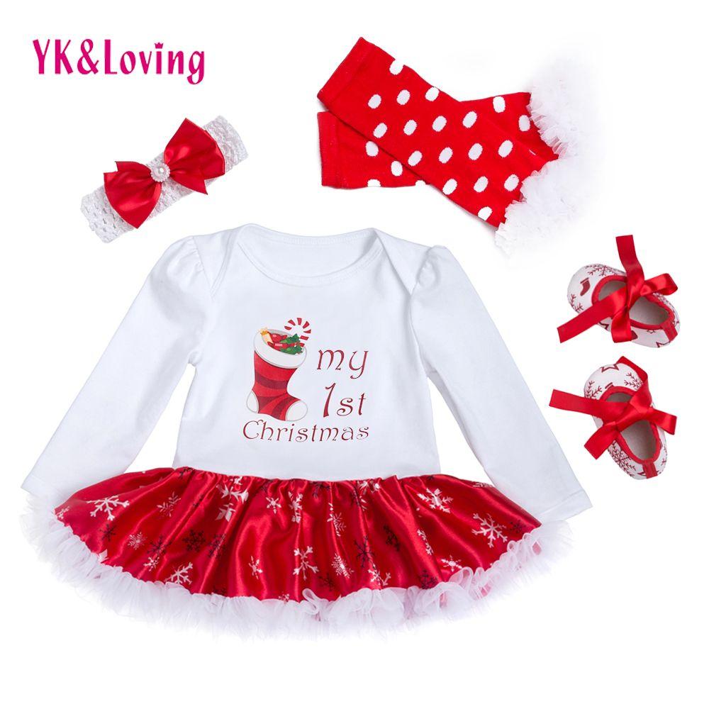 Kerst Babykleertjes Snowflake Lange Mouwen Pasgeboren Romper Jurk Baby Meisjes Kleding 4 stks Set 2018 Nieuwjaar Baby Kleding