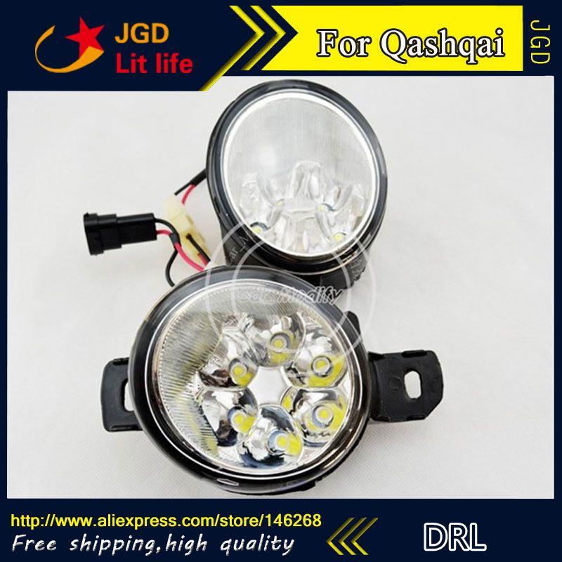 Free Shipping 12v 6000k Led Drl Daytime Running Light For Nissan Qashqai 2008 2013 Fog Lamp Frame Fog Light Running Lights Fog Lamps Light