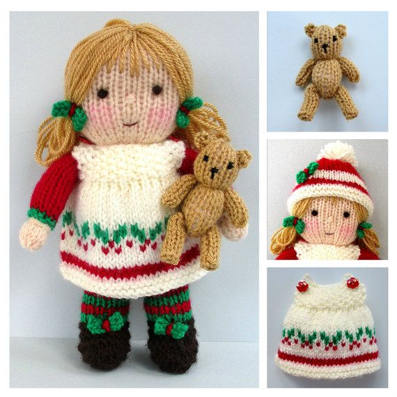 HOLLY BERRY and tiny teddy knitting pattern Pdf instant | ganchillo ...
