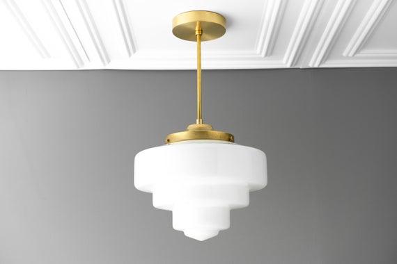 Pendant Light Art Deco Shade Opal Glass Ceiling Light Art
