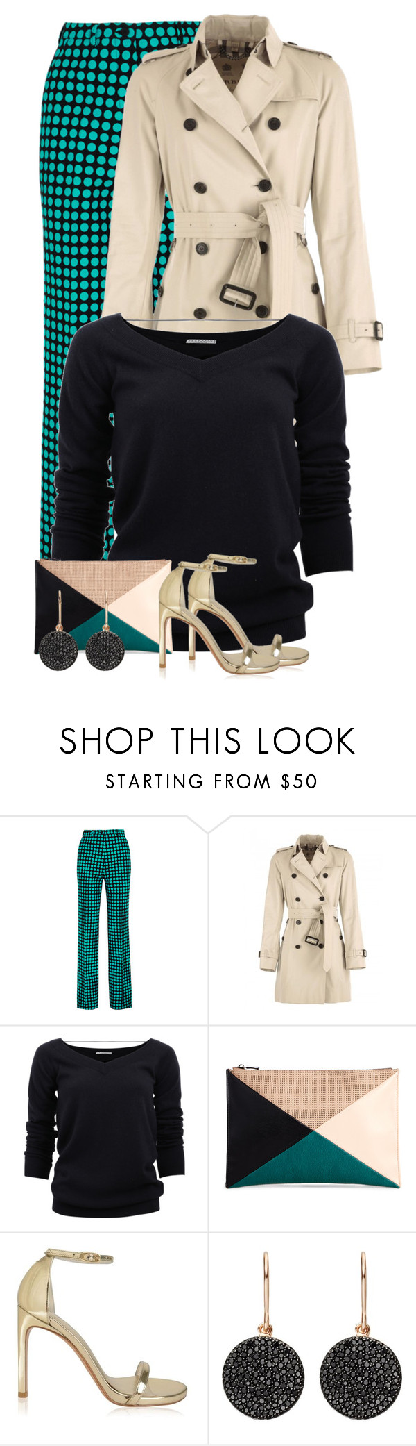 """Polka Dot Pants & Burberry Trench"" by majezy ❤ liked on Polyvore featuring Bottega Veneta, Burberry, Brunello Cucinelli, Sole Society, Stuart Weitzman and Astley Clarke"
