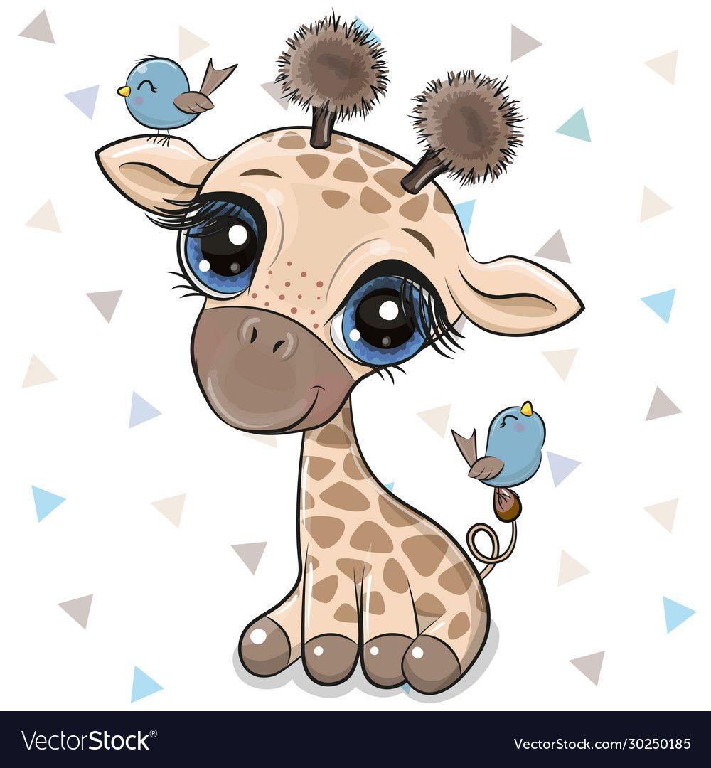 Cartoon giraffe with two birds vector image on VectorStock