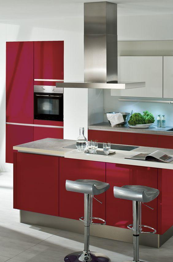 Designküche rote designküche in der farbe der liebe romantik küche