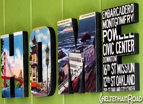 wood letters spell out home and feature vintage san francisco images other cities available