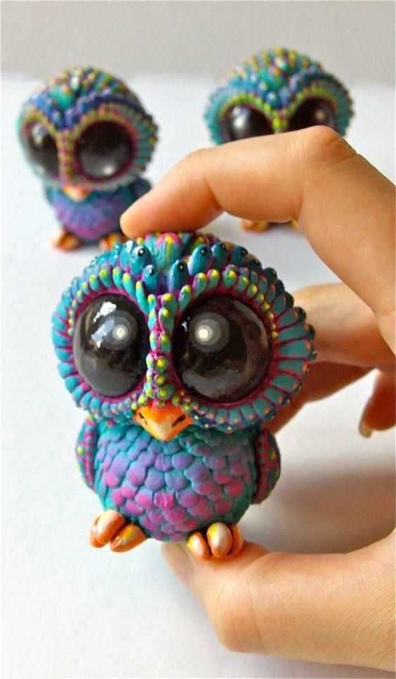 Животные из полимерной глины сова с большими глазами ...