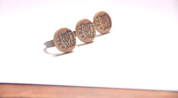 ANCIENT style Bronze ring with handmade ceramic Old by claykedem, $11.00