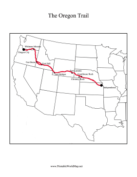 This Printable Oregon Trail Map Shows The Path Of The Travelers From