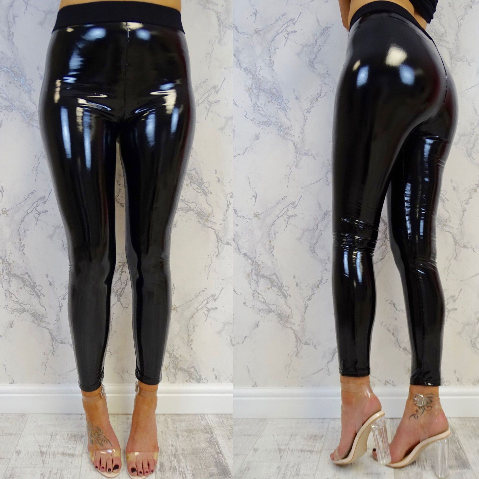 9aa3678b86911 loomrack High Waisted PVC Pants Leggings S Slim Pants, Trouser Pants, Trousers  Women,