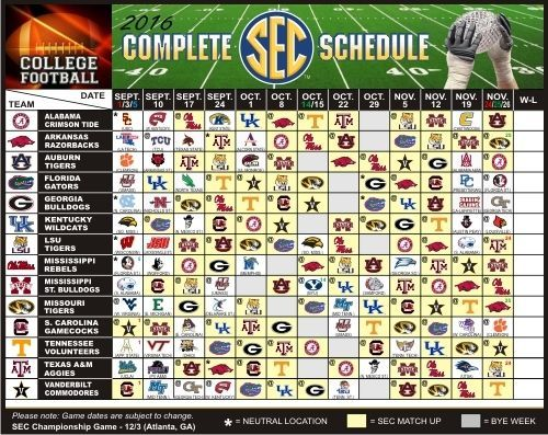 2016 Complete Sec College Football Schedule Magnet Ncaa Magnet
