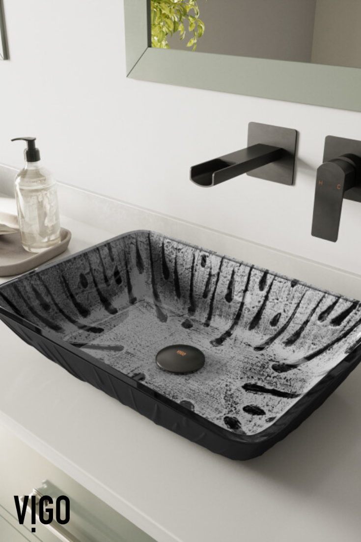 Vigo Rectangular Plutonian Glass Vessel Bathroom Sink Vessel Sinks Bathroom In 2020 Glass Vessel Sinks Glass Vessel Wall Mount Faucet Bathroom